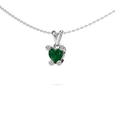 Picture of Necklace Cornelia Heart 925 silver emerald 6 mm