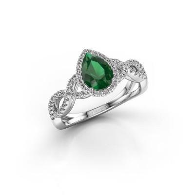 Foto van Verlovingsring Dionne 925 zilver smaragd 7x5 mm
