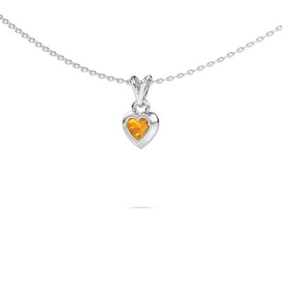 Foto van Hanger Charlotte Heart 375 witgoud citrien 4 mm
