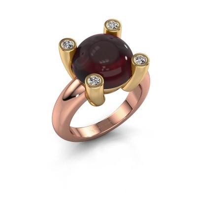 Ring Janice RND 585 rosé goud granaat 12 mm