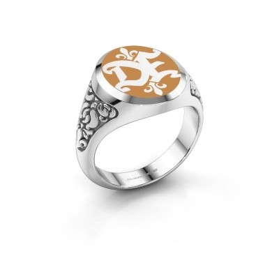 Monogram ring Brian Emaille 375 witgoud gele emaille