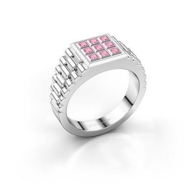 Foto van Rolex stijl ring Chavez 925 zilver roze saffier 2 mm