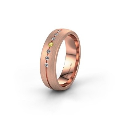 Wedding ring WH0162L25A 375 rose gold yellow sapphire ±5,5x1.7 mm
