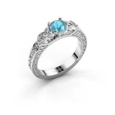 Foto van Verlovingsring Gillian 925 zilver blauw topaas 5 mm