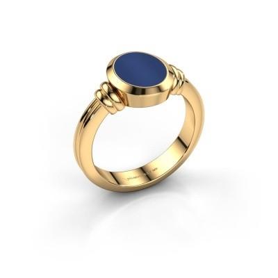 Foto van Pinkring Jake 1 585 goud lapis lazuli 10x8 mm