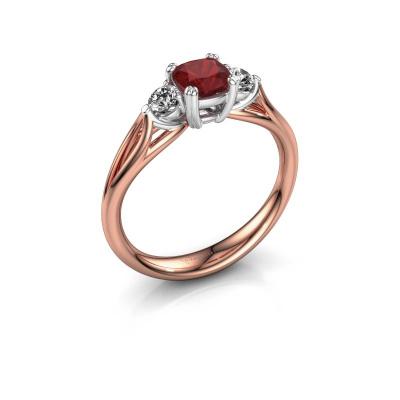 Verlovingsring Amie cus 585 rosé goud robijn 5 mm