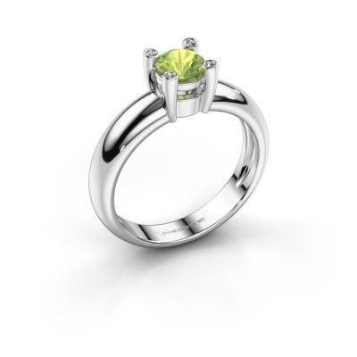 Ring Fleur 585 witgoud peridoot 4.7 mm
