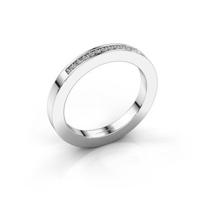 Stackable ring Loes 1 585 white gold zirconia 1.1 mm