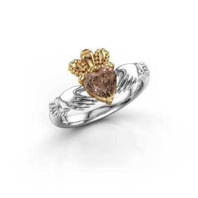 Foto van Ring Claddagh 2 585 witgoud bruine diamant 0.80 crt
