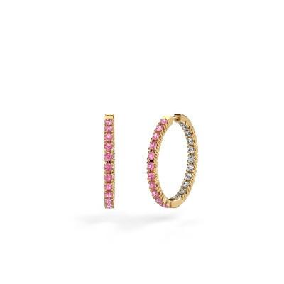 Foto van Creolen Miki 20mm 375 goud roze saffier 2 mm