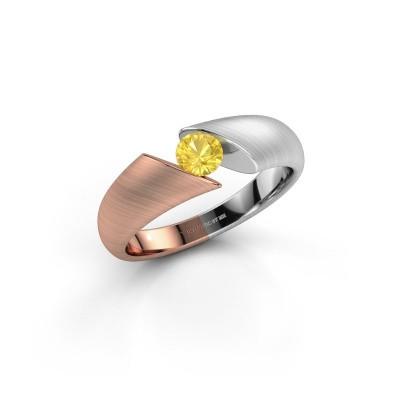 Foto van Ring Hojalien 1 585 rosé goud gele saffier 4.2 mm