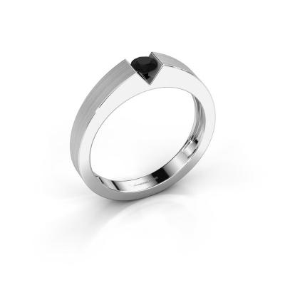 Verlovingsring Lizzy 1 585 witgoud zwarte diamant 0.24 crt