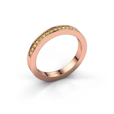 Stackable ring Loes 4 375 rose gold yellow sapphire 1.3 mm