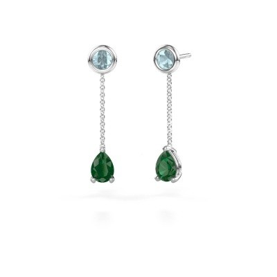 Picture of Drop earrings Laurie 3 950 platinum emerald 7x5 mm