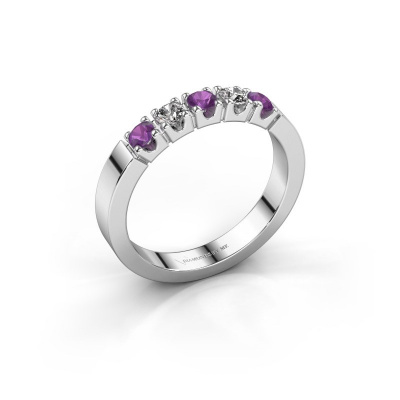 Engagement ring Dana 5 585 white gold amethyst 3 mm