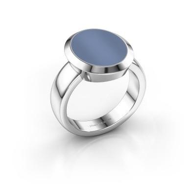 Zegelring Oscar 4 950 platina licht blauwe lagensteen 15x12 mm