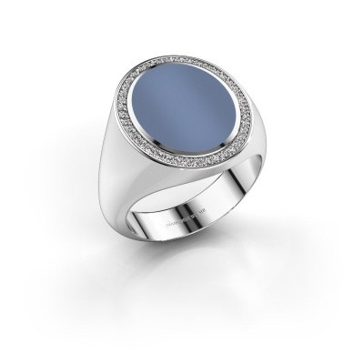 Signet ring Adam 4 585 white gold light blue sardonyx 15x12 mm