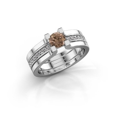 Foto van Verlovingsring Myrthe 585 witgoud bruine diamant 0.668 crt