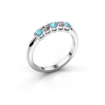 Foto van Promise ring Michelle 5 585 witgoud blauw topaas 2.7 mm