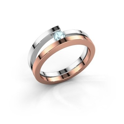 Ring Sandy 585 rosé goud aquamarijn 3.4 mm