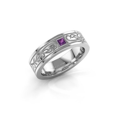 Men's ring Matijs 950 platinum amethyst 3 mm