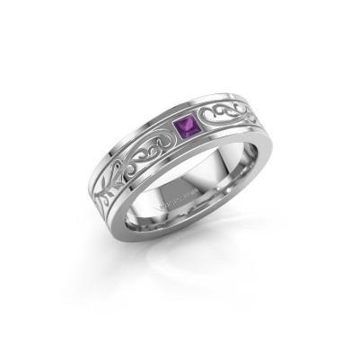Heren ring Matijs 950 platina amethist 3 mm
