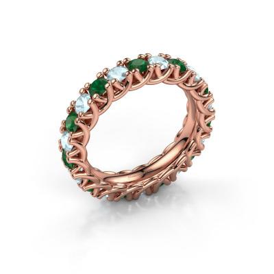 Ring Fenna 585 rosé goud smaragd 3 mm