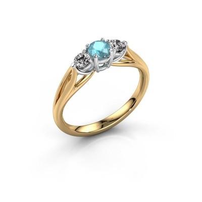 Foto van Verlovingsring Amie RND 585 goud blauw topaas 4.2 mm