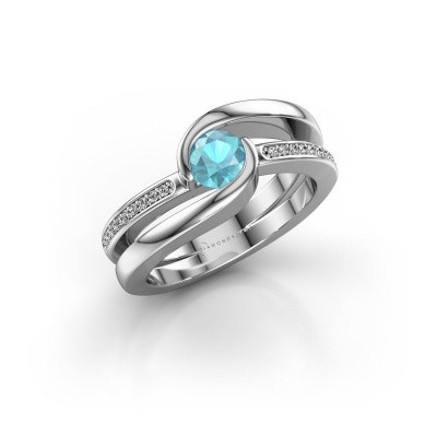 Foto van Ring Xenia 2 375 witgoud blauw topaas 5 mm