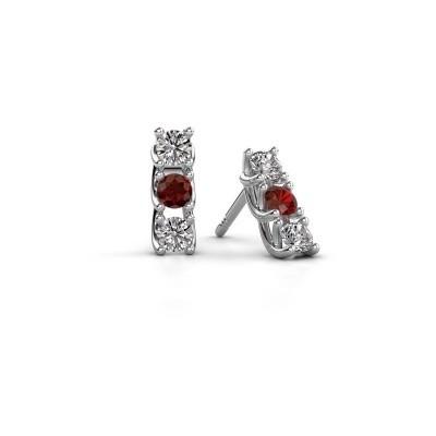 Picture of Earrings Fenna 925 silver garnet 3 mm