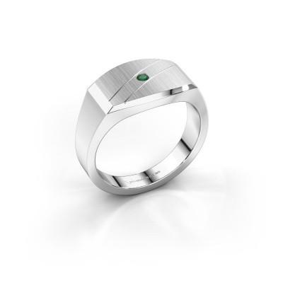 Men's ring Joe 3 585 white gold emerald 2 mm