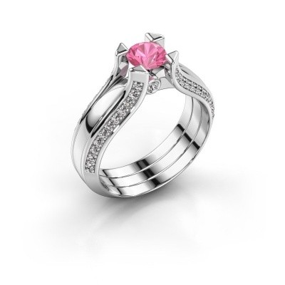 Verlovingsring Nadine 950 platina roze saffier 5 mm