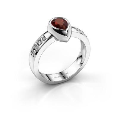 Ring Charlotte Pear 925 Silber Granat 8x5 mm