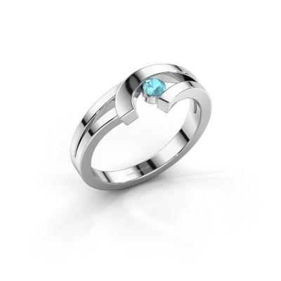 Ring Yentl 585 witgoud blauw topaas 3 mm
