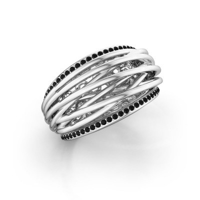 Foto van Ring Kirstin 585 witgoud zwarte diamant 0.324 crt