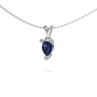 Ketting Cornelia Pear 585 witgoud saffier 7x5 mm