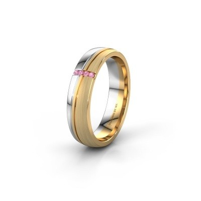 Weddings ring WH0909L25X 585 gold pink sapphire ±5x1.5 mm
