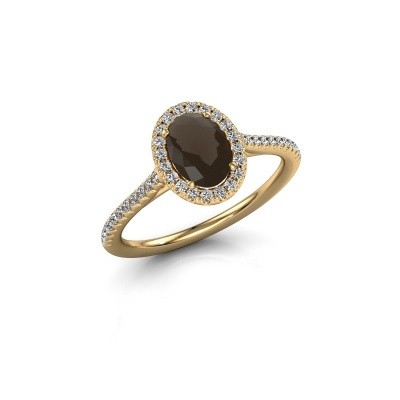 Engagement ring Seline 2 375 gold smokey quartz 7x5 mm