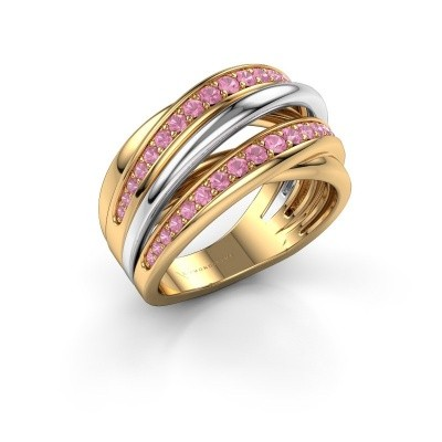Ring Marylouise 2 585 goud roze saffier 1.2 mm