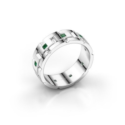 Foto van Rolex stijl ring Ricardo 585 witgoud smaragd 2 mm