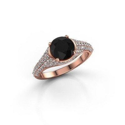 Foto van Ring Lovella 375 rosé goud zwarte diamant 2.189 crt