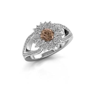 Aanzoeksring Chasidy 2 925 zilver bruine diamant 0.50 crt