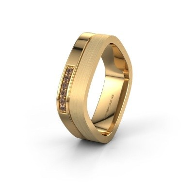 Wedding ring WH6030L16A 585 gold brown diamond ±0.24x0.07 in