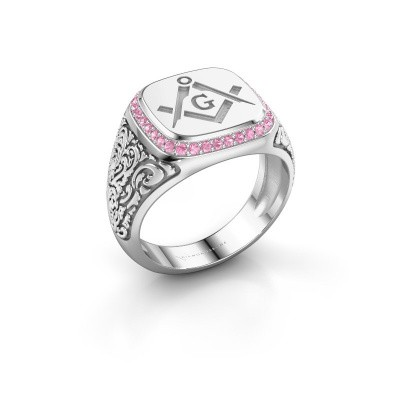 Picture of Men's ring Johan 2 375 white gold pink sapphire 1.2 mm