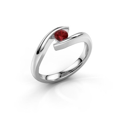 Photo de Bague de fiançailles Alaina 585 or blanc rubis 4 mm
