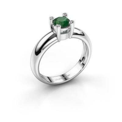 Ring Fleur 585 witgoud smaragd 4.7 mm