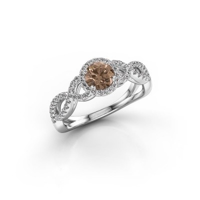 Engagement ring Dionne rnd 925 silver brown diamond 0.82 crt