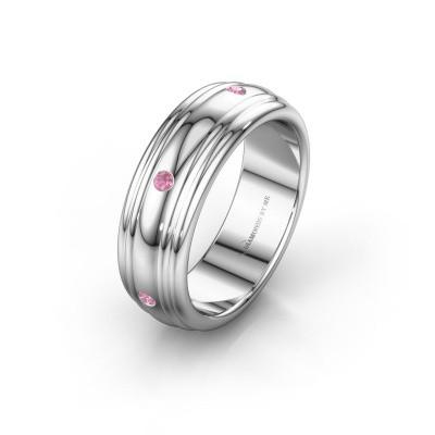 Wedding ring WH2236L 950 platinum pink sapphire ±6x2.2 mm