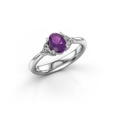 Picture of Engagement ring Aleida OVL 1 925 silver amethyst 7x5 mm