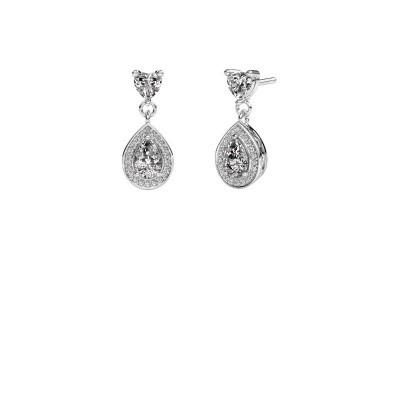 Drop earrings Susannah 585 white gold zirconia 6x4 mm